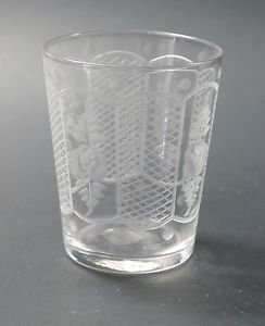 Westmoreland engraved Rose etched cut shot glass
