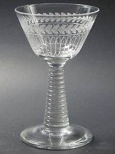 Needle etched martini glass