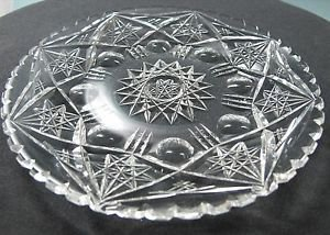 Plate American Brilliant Period Cut Glass  blown blank Antique