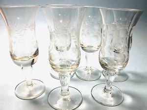 6 wheel cut  etched liquor glass Hand cut