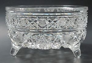American Brilliant Period hand Cut Glass planter /  bowl 3 legs Antique