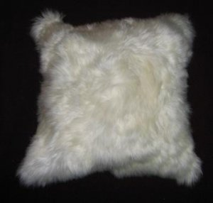 Fur Pillow cover, made of white alpaca fur,12 x 12 inch