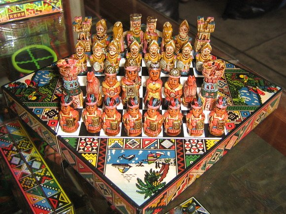 Handpainted chess, spanish against Incas,Game