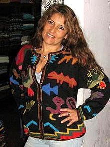 Ethnic peruvian cardigan, jacket made of Alpaca wool