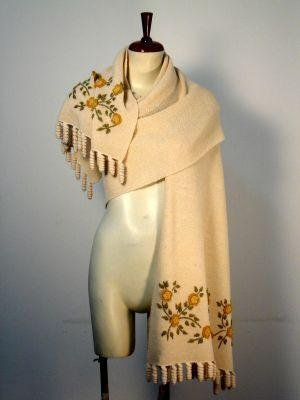 Embroidered huge shawl, scarf , wrap pure Alpaca wool