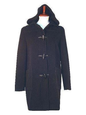 Hooded coat, Alpaca wool, black outerwear
