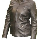 Women`s Brown Biker Style Nappa Leather Jacket