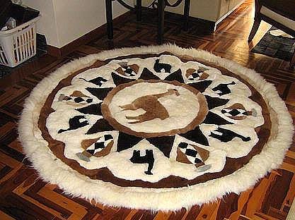 Alpaca fur Rug ,170 cm diameter, tapestry