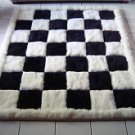 Designer alpaca fur rug, black and white, chess design, 80 x 60 cm