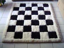 Designer alpaca fur rug, black and white, chess design, 80 x 60 cm