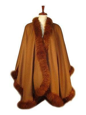 Cape,Poncho Alpaca wool and fur trimming,Outerwear