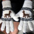 Woolen gloves, mittens made of alpacawool