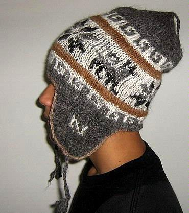 Ethnic peruvian Chullo, woolly hat made of alpacawool