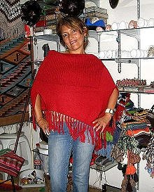 Red Poncho, Cape made with Alpaca Wool,outerwear