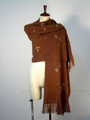 Embroidered brown shawl,wrap made of alpacawool