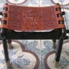 Wood chair,massive mahogany wood and carved leather