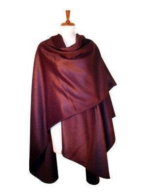 Cape made of surialpaca wool, burgundy wrap