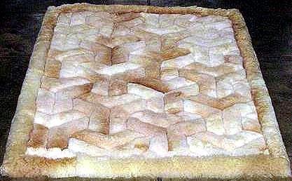 Alpaca fur rug,carpet with a w-design, 59 x 43 Inches