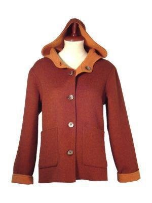 Hooded Jacket,pure Alpaca wool, elegant Outerwear