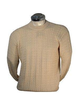 White Sweater for men, knitted with Alpaca wool
