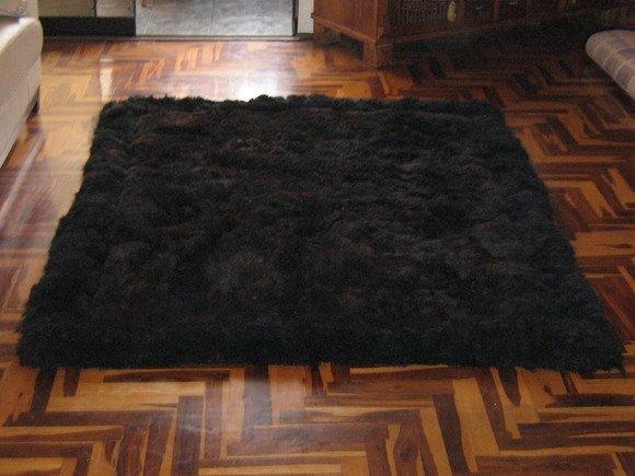 Black alpaca fur carpet, from the Andes of Peru, 80 x 60 cm