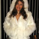 White babyalpaca pelt hooded Jacket, fur outerwear
