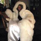 Maxi fur hooded long coat, fur outerwear