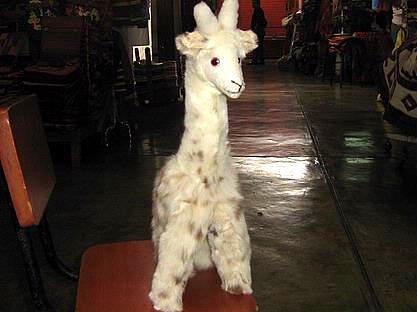 Cosy little Giraffe soft toy, Alpaka pelt figure