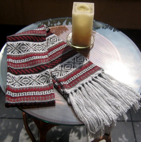 Alpaca wool knitted scarf, shawl with peruvian design