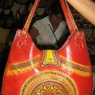 Red leather Handbag, handmade with a typical motive