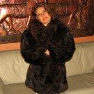 Brown Alpaca pelt midi jacket for women, fur outerwear