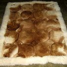 Brown and white Alpaca fur rug, 80 x 60 cm