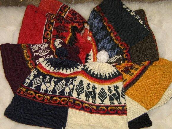 12 Alpaca woolen hats, mixed lot, wholesale
