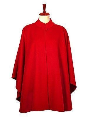 Red Poncho Cape, Babyalpaca wool fabric