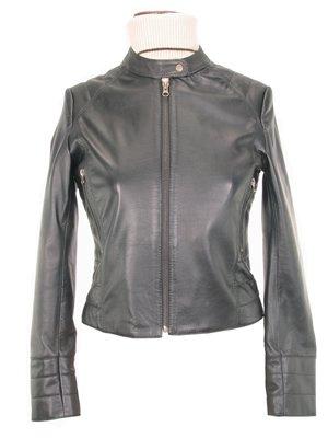 Women�s Lambskin Leather Jacket with fancy  sleeves