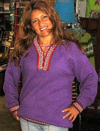Lila folklorical sweater,pure Alpacawool,V-neck