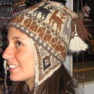 Chullo from Peru, brown wool hat pure alpaca wool, cap