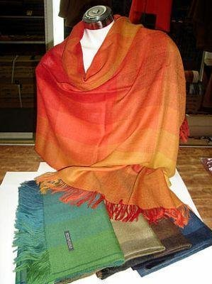 5 colored scarves, shawls made with Babyalpaca wool
