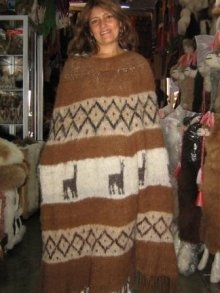 Folklorical poncho, outerwear, natural alpaca wool