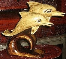 Couple dolphins, hand carved,cedarwood