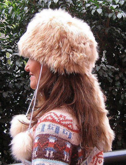 Folklorical fur hat, cap made with pure Alpaca fur