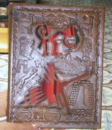 Leather bound photo album with Inca signs as design