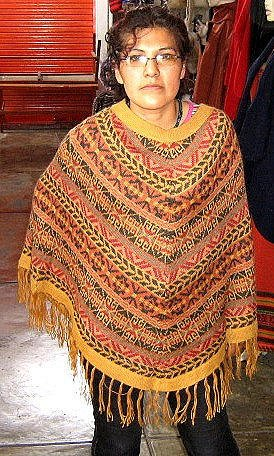 Colored Poncho from Peru,pure Alpacawool,Outerwear