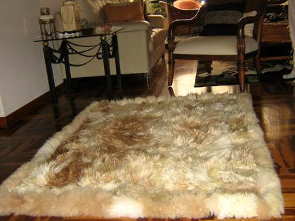 Soft light brown babyalpaca fur rug, 80 x 60 cm