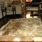 Soft light brown babyalpaca fur rug, 80 x 60 cm