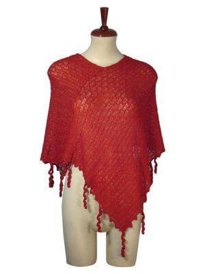 Red weaved wrap in a Poncho style, Babyalpaca wool