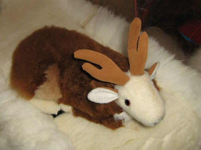 Soft Toy, Reindeer handmade with Alpaca fur and wool