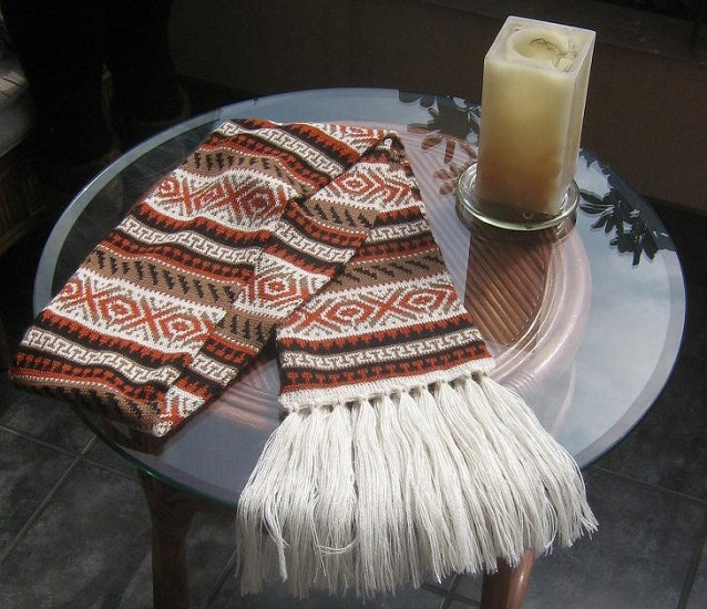 Alpaca wool knitted scarf, shawl in a folklorical design
