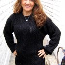 Black Sweater, cable pattern jumper, Alpaca wool