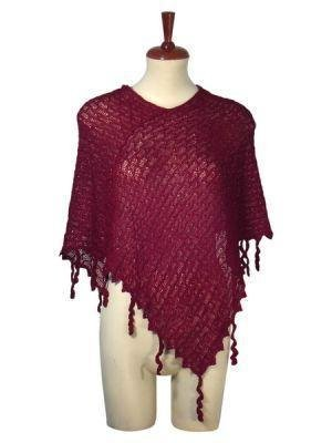 Burgundy weaved wrap,poncho style, Babyalpaca wool